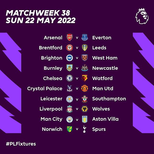 جدول مباريات الجولة الأخيرة من الدوري الانجليزي فى موسمه الجديد 2021/2022
