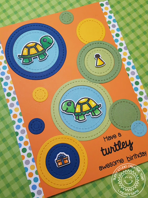 Sunny Studio Stamps: Turtley Awesome Turtle Birthday Card by Lindsey Sams