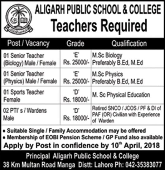 Alighar Public School & College Jobs for Teachers