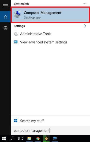 Pada Search Windows Ketik Computer Management