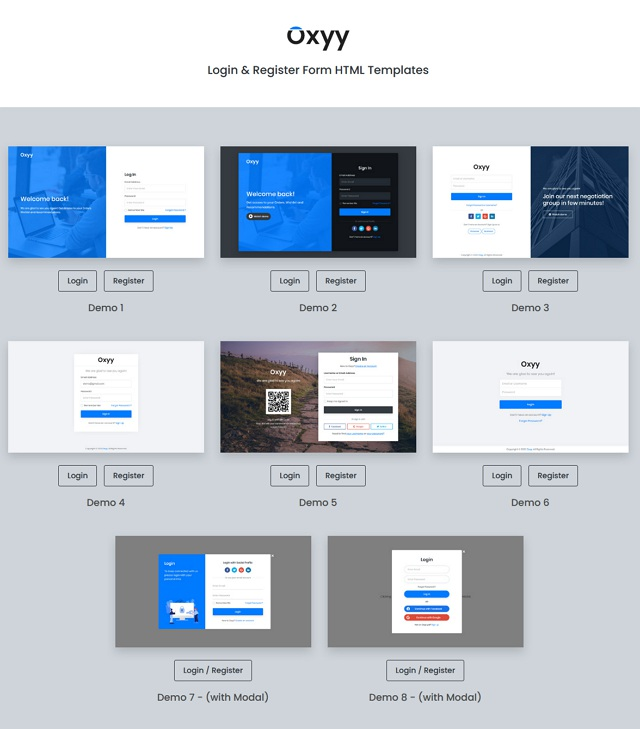Login and Register Form HTML Templates