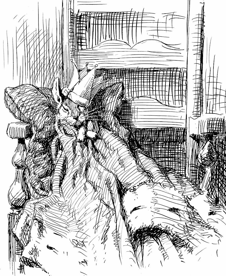 an A.B. Frost illustration of a sleeping mouse king