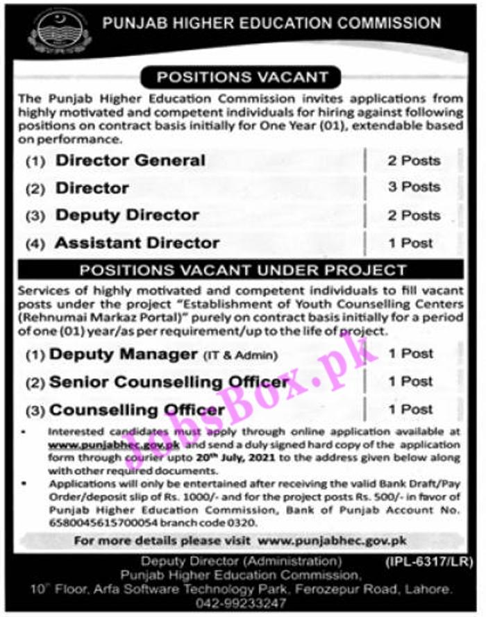 Punjab Higher Education Commission Jobs 2021