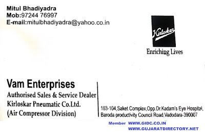 VAM ENTERPRISES - 9724476997 Kirloskar Air Screw Compressor