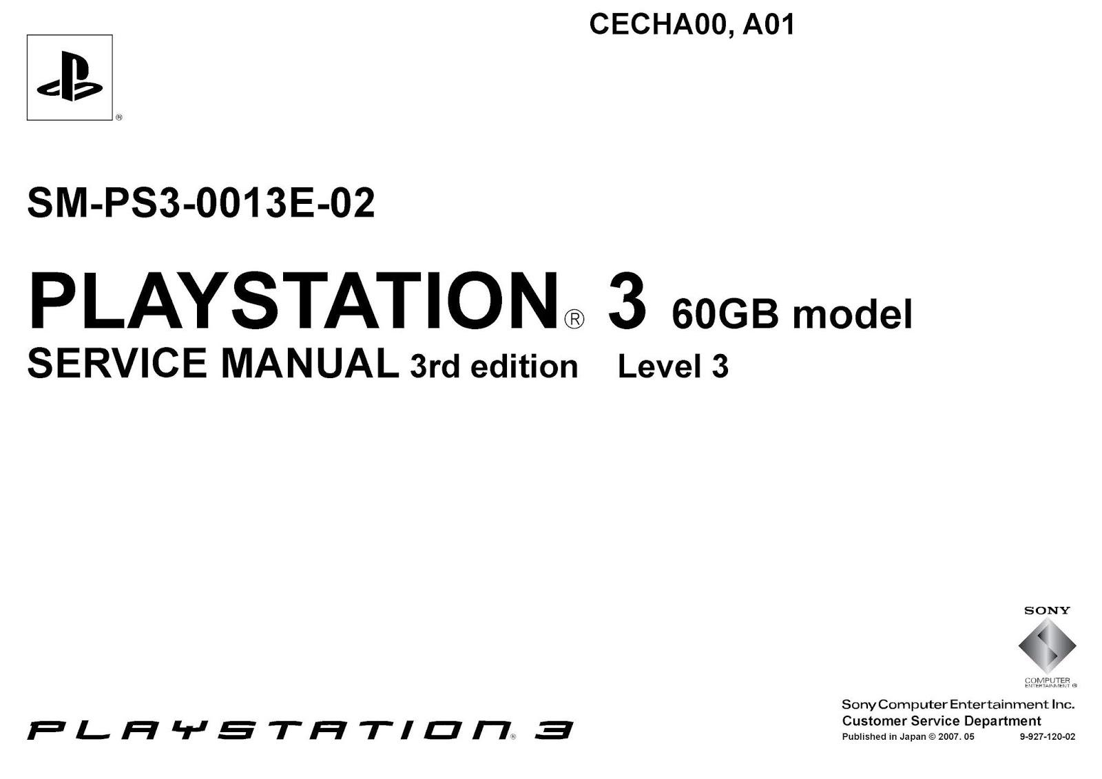 Esquema Elétrico: PlayStation 3 SM-PS3-0013E-02 Service Manual