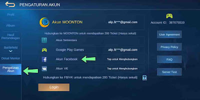 Cara mengganti akun ML mobile legends