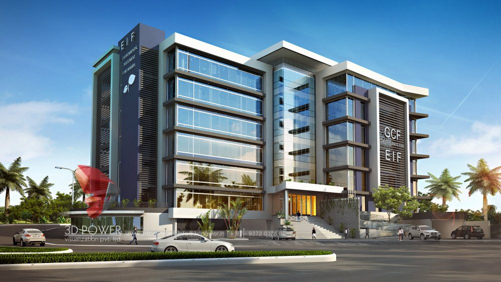 Corporate building design 3d rendering architectural for Modern office building exterior design