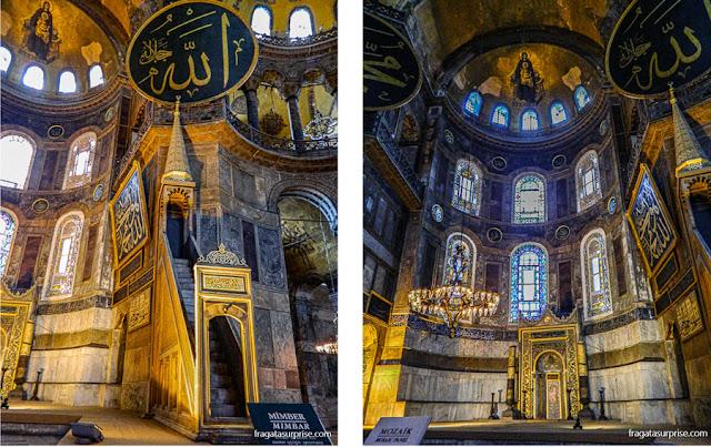 Basílica de Santa Sofia, Istambul: Mimbar (púlpito ) e  Mihab nicho que aponta a direção de Meca