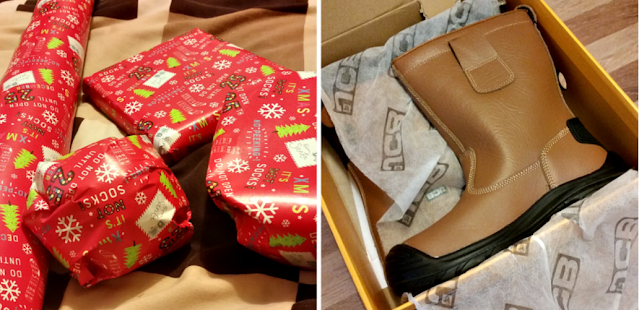 A few presents wrapped and new work boots for my fella