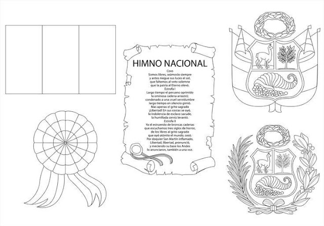 Símbolos patrios de Perú para colorear