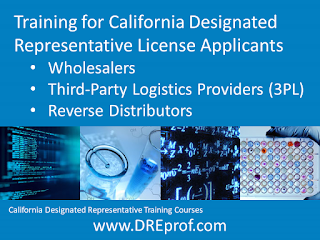 California Designated Representative Training Courses. Earns a training affidavit accepted by the California State Board of Pharmacy. Separate courses specifically designed for: wholesalers, 3PL (third-party logistics providers); reverse distributors.
