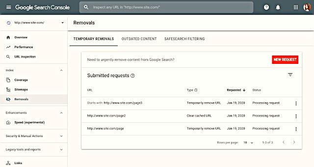 URL'yi geçici olarak kaldırma URL'yi yaklaşık altı ay boyunca Google Arama sonuçlarından gizler ve sayfanın önbelleğe alınmış kopyasını temizler.