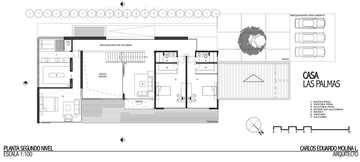 First floor plan of Modern architecture house by Carlos Molina