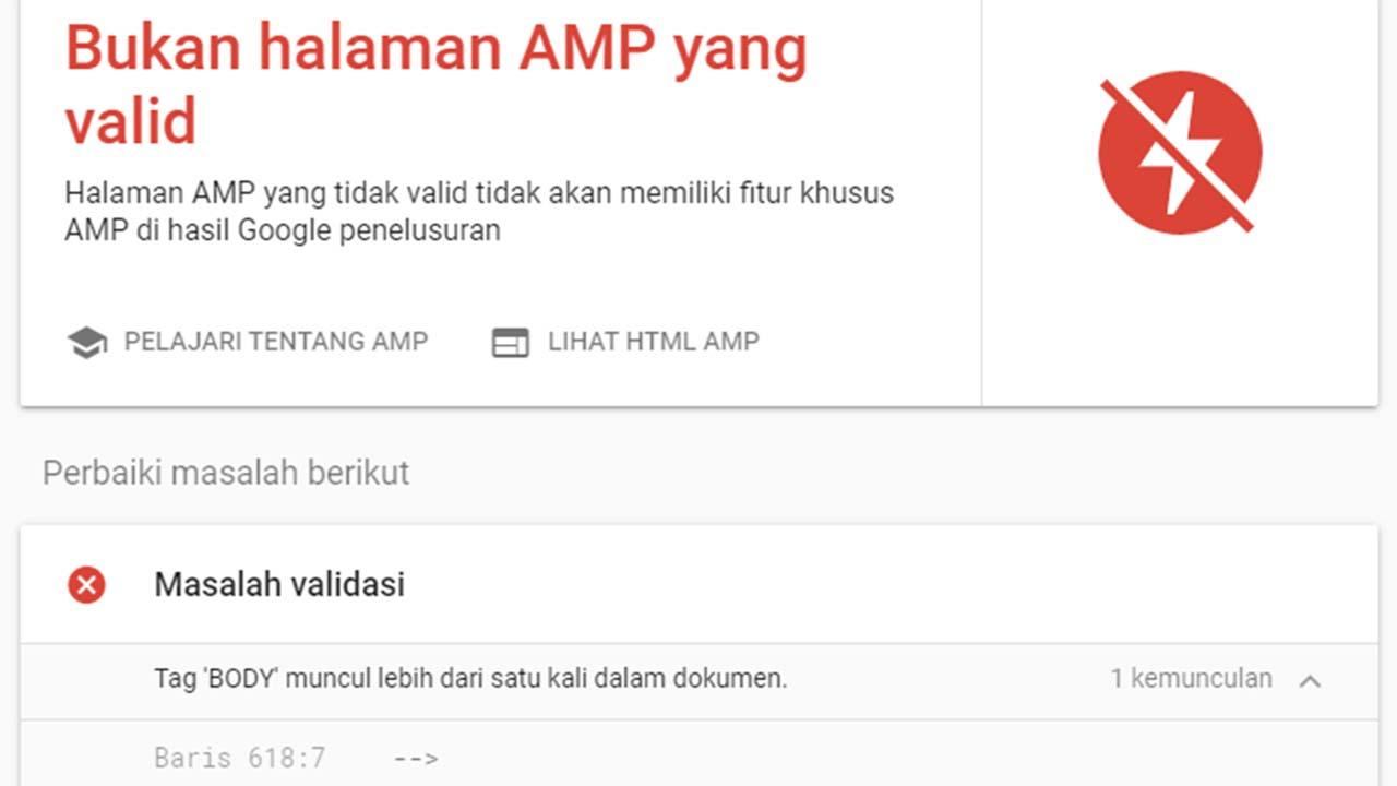 Memperbaiki Error AMP Agustus 2020