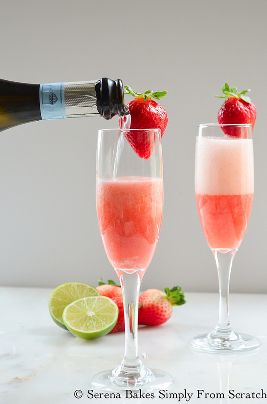 Strawberry Champagne is the perfect cocktail for Easter, Mothers Day, Thanksgiving, or Christmas! Such an easy recipe to make!