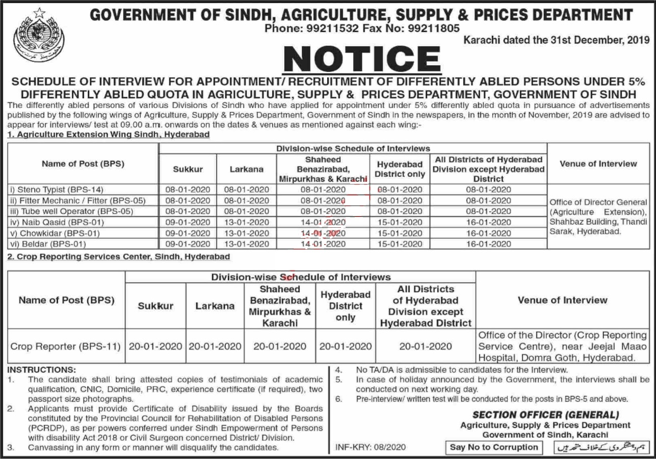 Agriculture Supply & Prices Department Walk In Interviews 2020