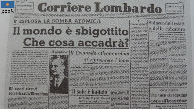 titulares de prensa del 8 de agosto de 1945, dos días después del lanzamiento de la bomba atómica sobre Hiroshima, en el Corriere Lombardo