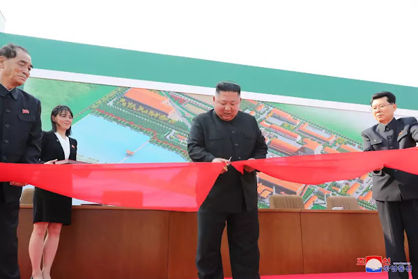 Kim Jong Un cuts completion tape of Sunchon Phosphatic Fertilizer Factory, May Day, 2020