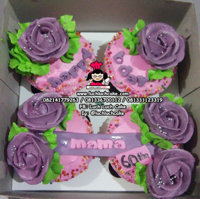 Cupcake Buttercream Ungu dan Pink