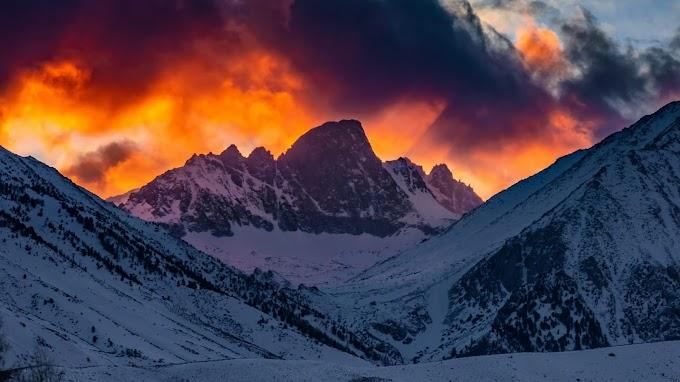 Montanhas, Neve, Pôr do Sol, Céu, Nuvens