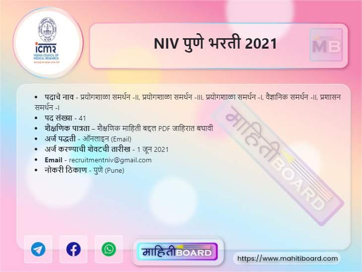 NIV Pune Bharti 2021