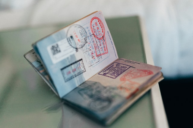 Passport with visa stamps in