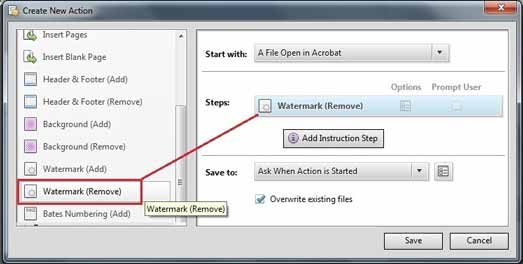 Add Action process for remove watermark from PDF