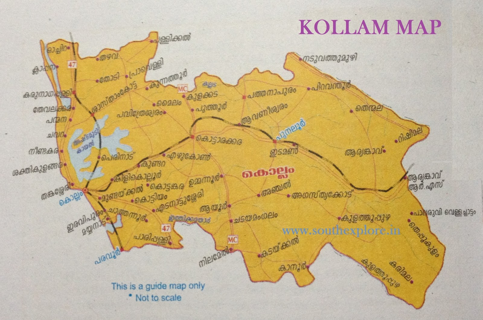 KOLLAM TOURISM MAP – South India Map With Tourist Places