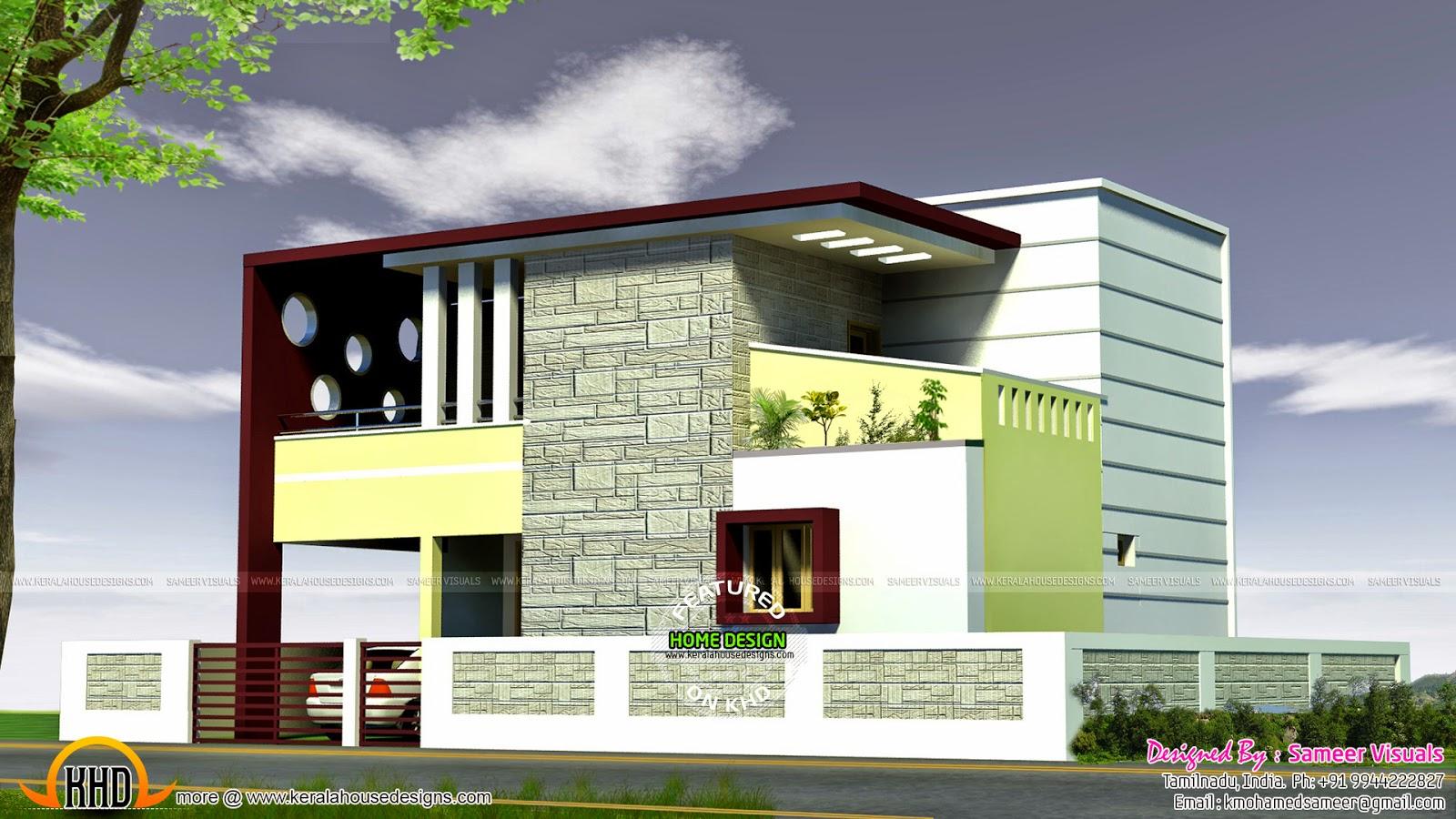 2289 square feet Tamilnadu home design - Kerala home design and ... - Modern Tamilnadu house design