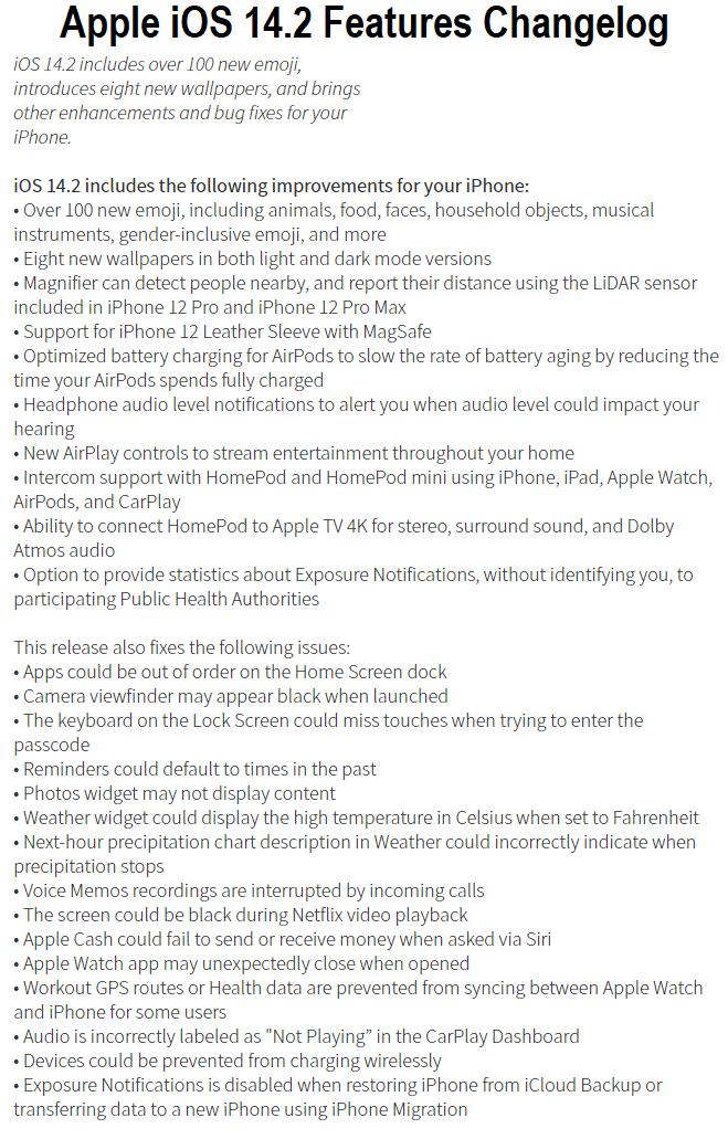 Apple iOS 14.2 Features Changelog