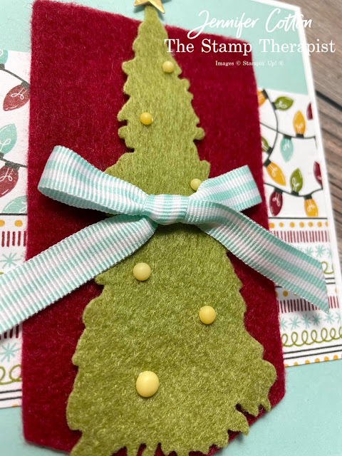 Stampin' Up! Sweet Little Stockings card: Jolly Felt, Matte Decorative Dots, Pool Party Striped Grosgrain Ribbon, and Sweet Stockings 12x12 DSP (Designer Series Paper).  I also used: Gold Foil and Potted Succulents Dies.  #StampinUp #StampTherapist #SweetLittleStockings