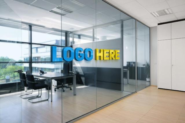 Office Space Window Logo Mockup