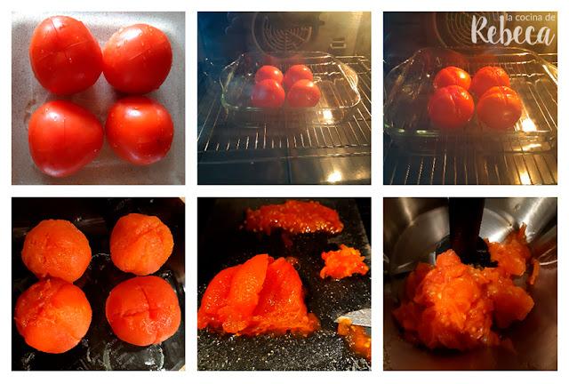 Receta de salsa romesco: asar los tomates