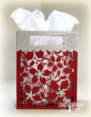 Our Daily Bread Designs Custom Dies: Card Caddy & Gift Bag, Gift Bag Handles & Topper, Poinsettia Inset