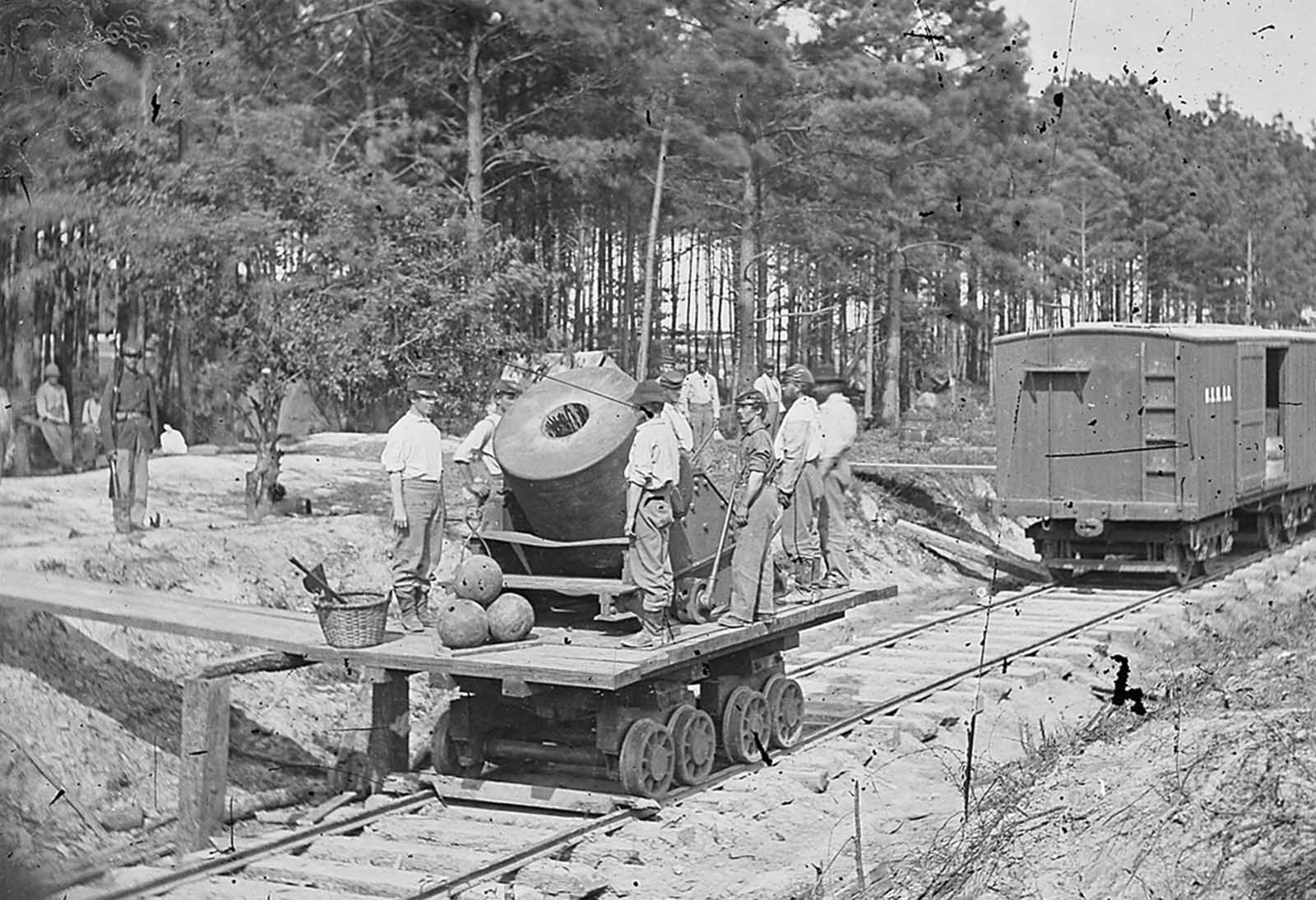 A mortar mounted on a railrioad car, near Petersburg, Virginia.