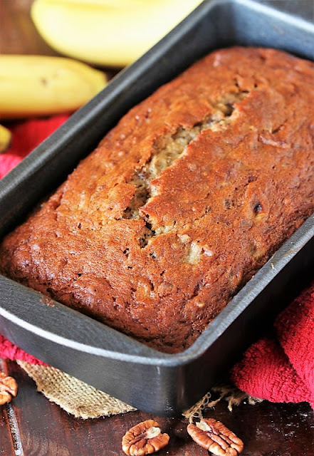 Loaf of Buttermilk Banana Bread in Baking Pan Image