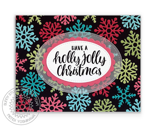Sunny Studio Holly Jolly Christmas Colorful Snowflake Card with Black Background (using Deck The Halls Stamps, Lacy Snowflakes, Scalloped Oval Mat 1 & Stitched Oval 2 Dies)