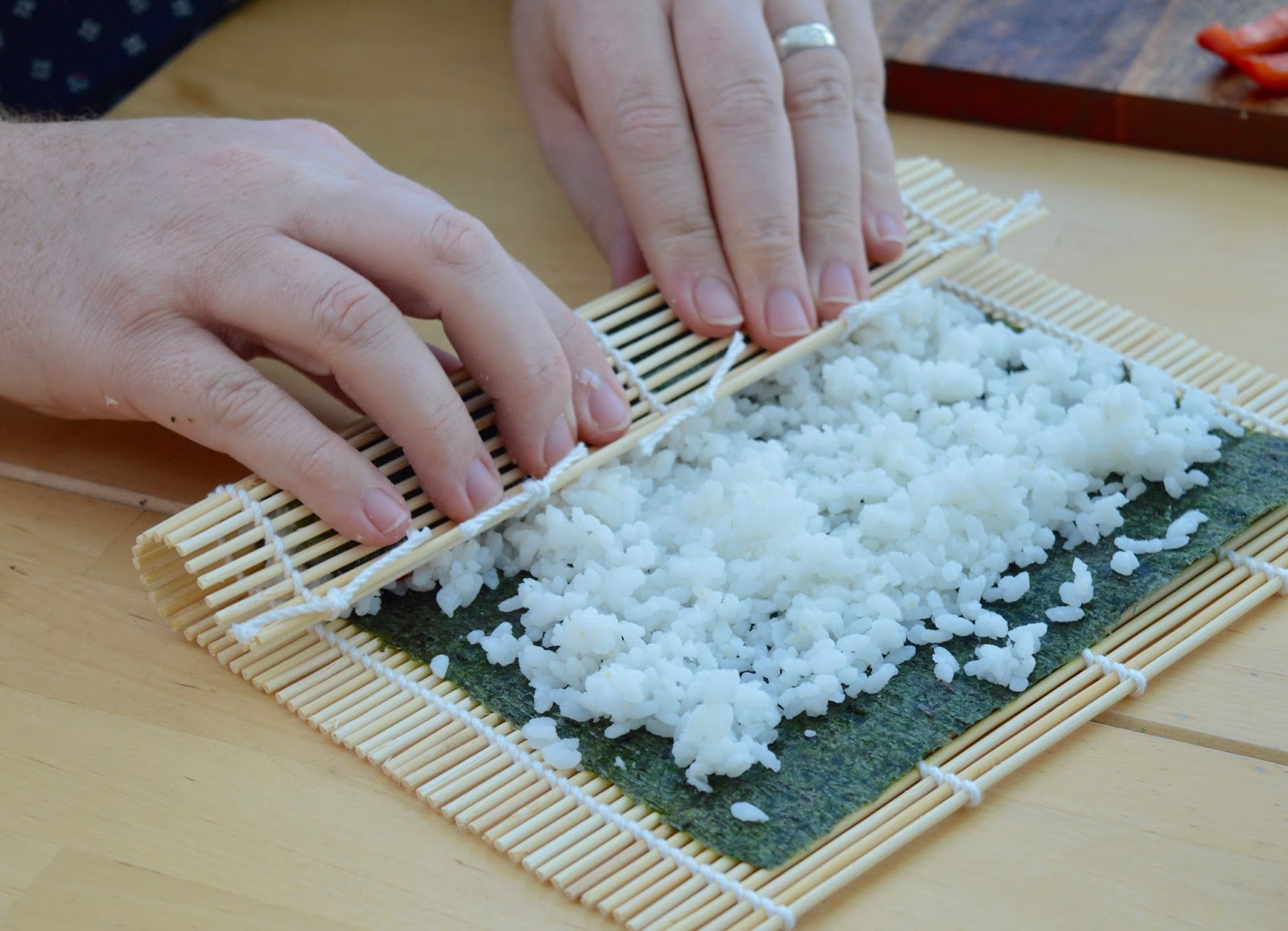 Sushi Making With Kids - A Tutorial for Beginners with Yutaka - using a sushi rolling mat