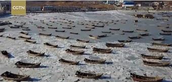 Trung Quốc Lạnh kỷ lục, hàng trăm tàu cá kẹt cứng trong băng