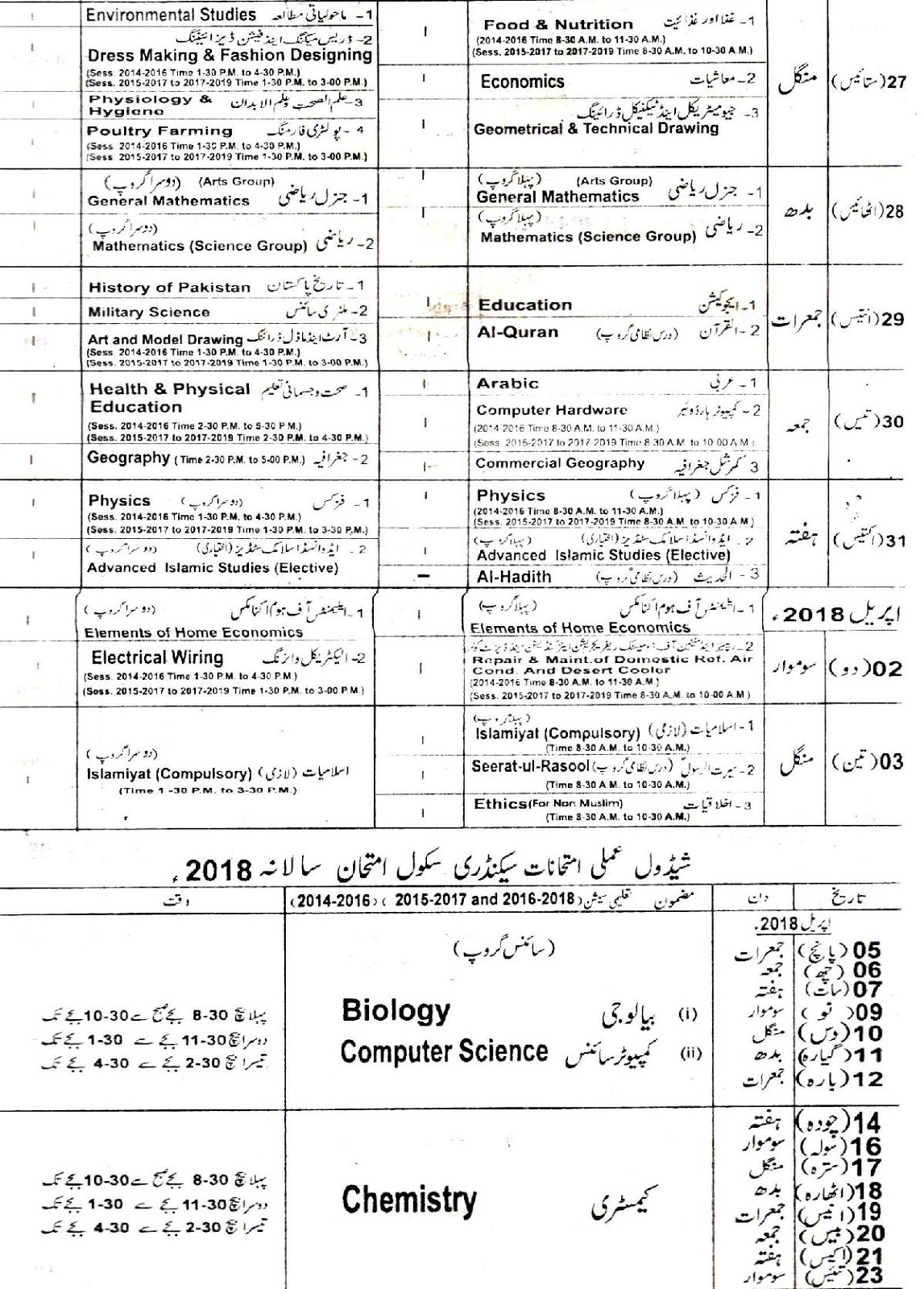 Lahore Board Matric 9th and 10th Class Supply Exam Date Sheet 2019