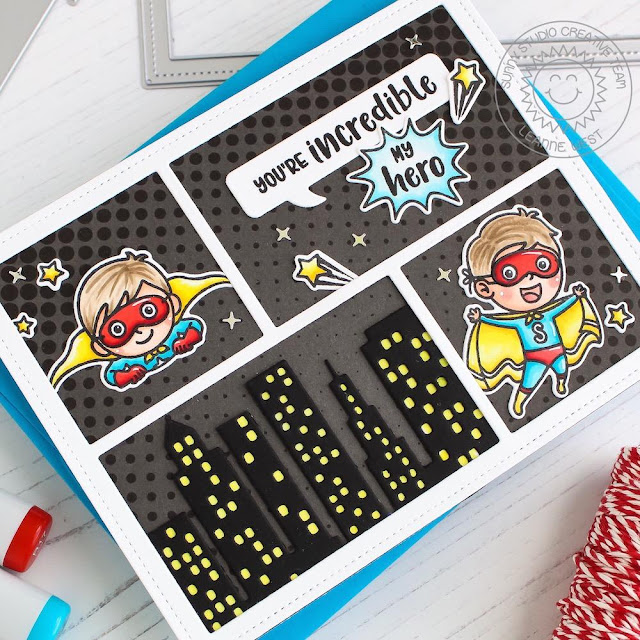 Sunny Studio Stamps: Super Duper Cityscape Border Comic Strip Speech Bubble Dies Super Hero Themed Cards by Leanne West