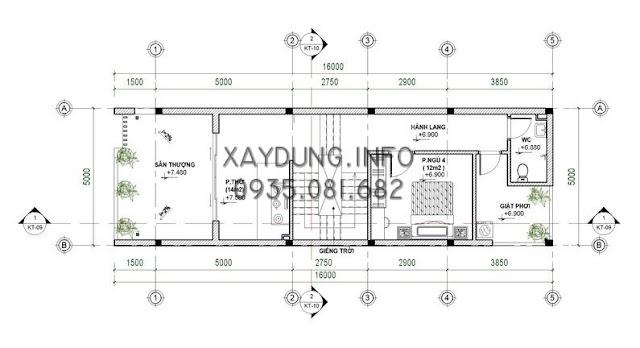 mặt bằng bố trí tầng 3 nhà phố kích thước 5*20m