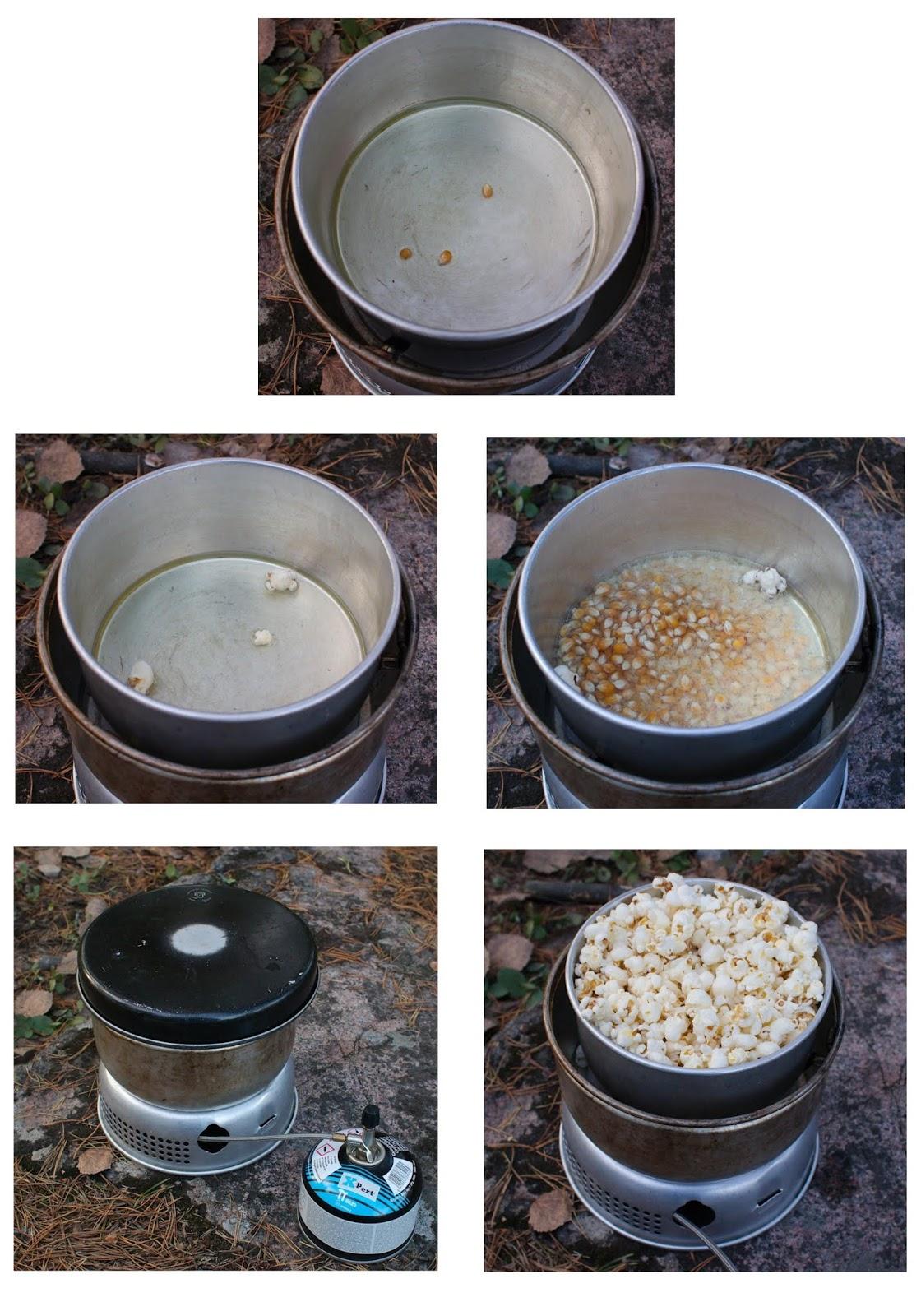 kuvasarja popkornien valmistamisesta trangialla