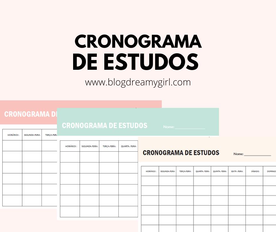 Baixe 3 tipos de cronogramas de estudos de forma gratuita