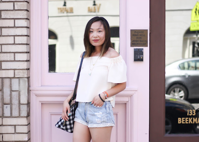 Casual Sunday Outfit: Off the shoulder top and denim shorts