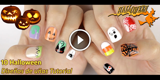Learn, How To Apply 10 Halloween Nail Designs - See Video Tutorial