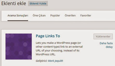 Wordpress Page links to eklentisi