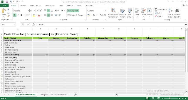 12 Month Cash Flow Statement Template Excel