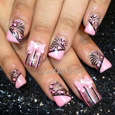 Stylish-and-Cute-Nail-Designs-with-Bows-and-Diamonds-for-Girls-18