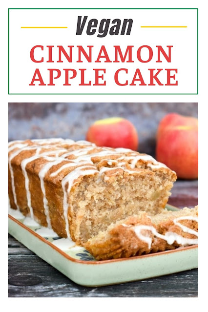 A soft and moist vegan apple cake baked in a loaf tin. It's easy to make, tastes delicious, and can be frozen in slices.